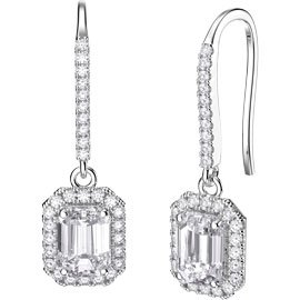 Princess Diamond Emerald Cut Halo 18ct White Gold Pave Drop Earrings
