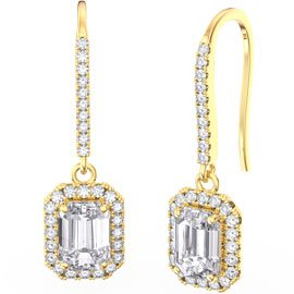 Princess Diamond Emerald Cut Halo 18ct Yellow Gold Pave Drop Earrings