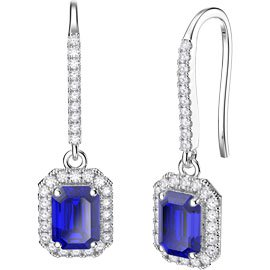 Princess Sapphire Emerald Cut Halo 18ct White Gold Pave Drop Earrings