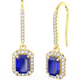 Princess Sapphire Emerald Cut Halo 18ct Yellow Gold Pave Drop Earrings