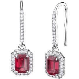 Princess Ruby Emerald Cut Halo 18ct White Gold Pave Drop Earrings