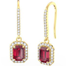 Princess Ruby Emerald Cut Halo 18ct Yellow Gold Pave Drop Earrings