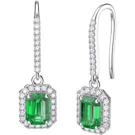Princess Emerald cut Emerald Halo 18ct White Gold Pave Drop Earrings