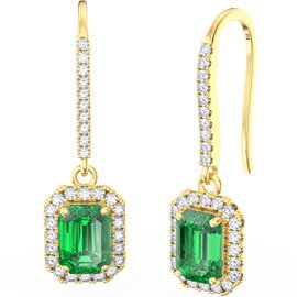 Princess Emerald cut Emerald Halo 18ct Yellow Gold Pave Drop Earrings