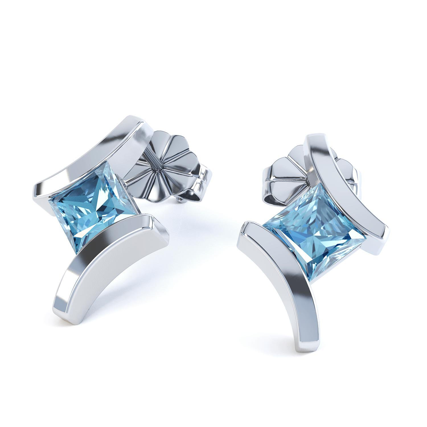 Combinations Blue Topaz Square 18ct White Gold Earrings