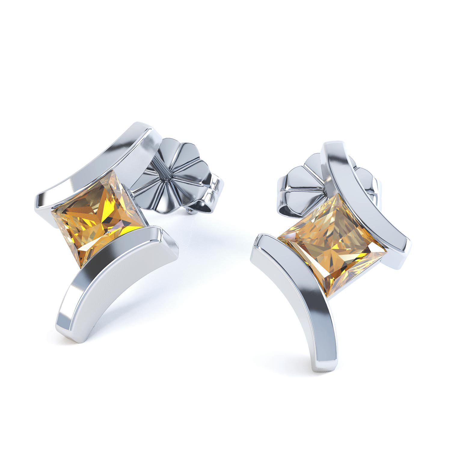 Combinations Citrine Square 18ct White Gold Earrings