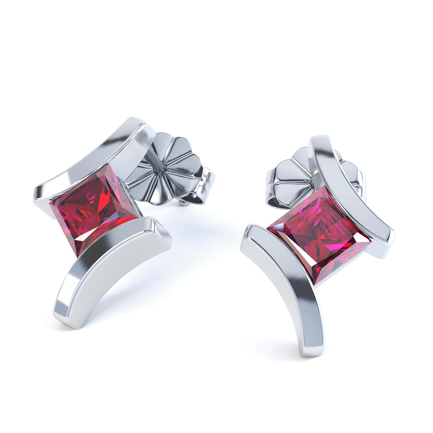 Combinations Garnet Square 18ct White Gold Earrings