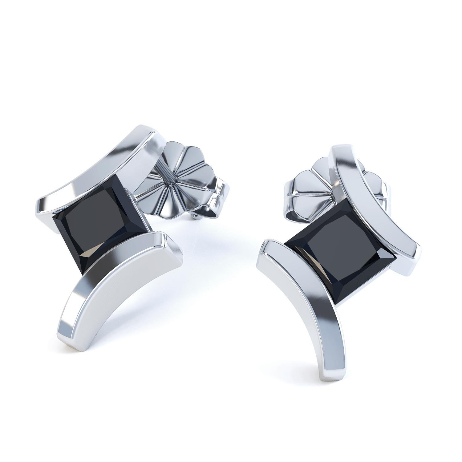 Combinations Onyx Square Rhodium plated Silver Earrings