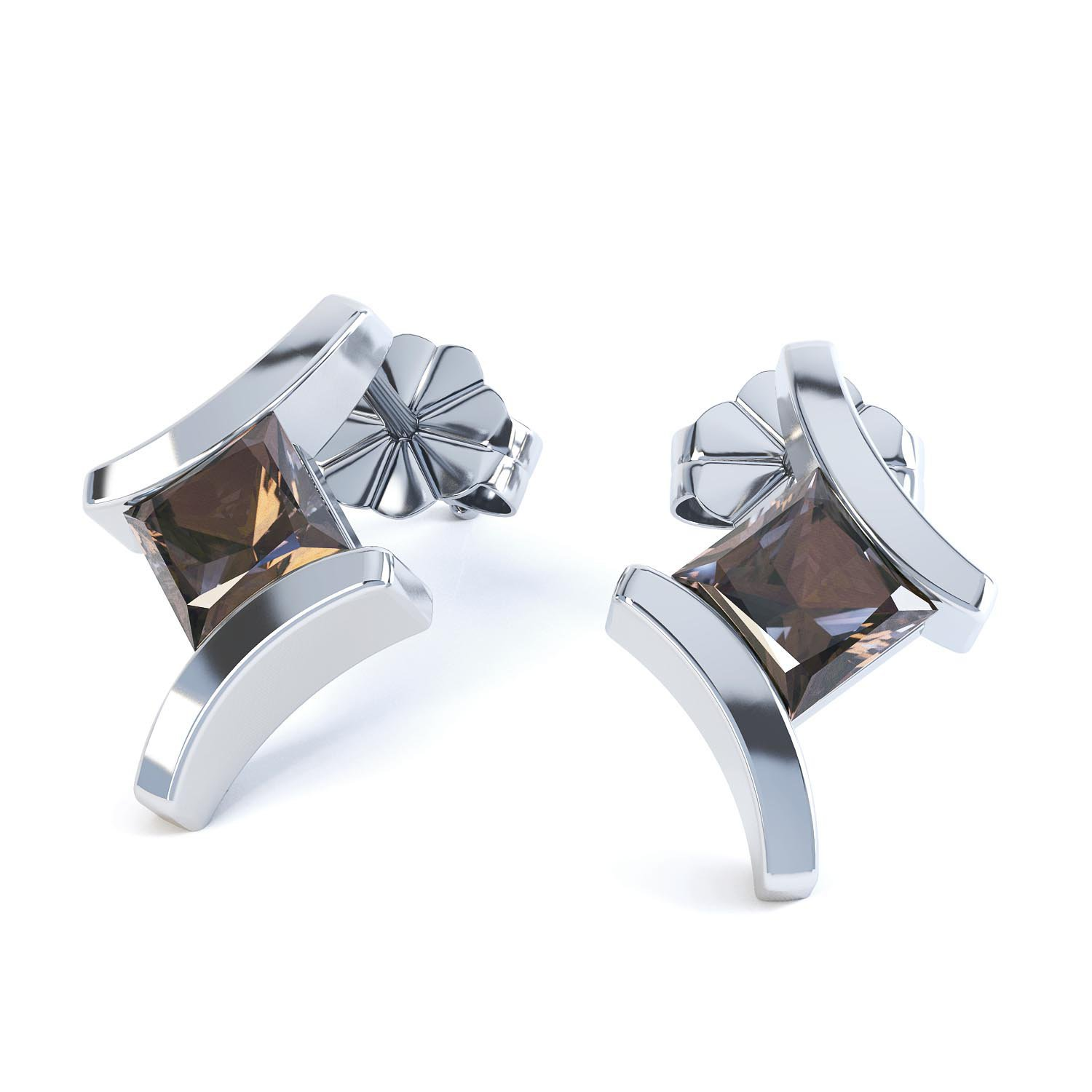 Combinations Smokey Quartz Square 18ct White Gold Earrings