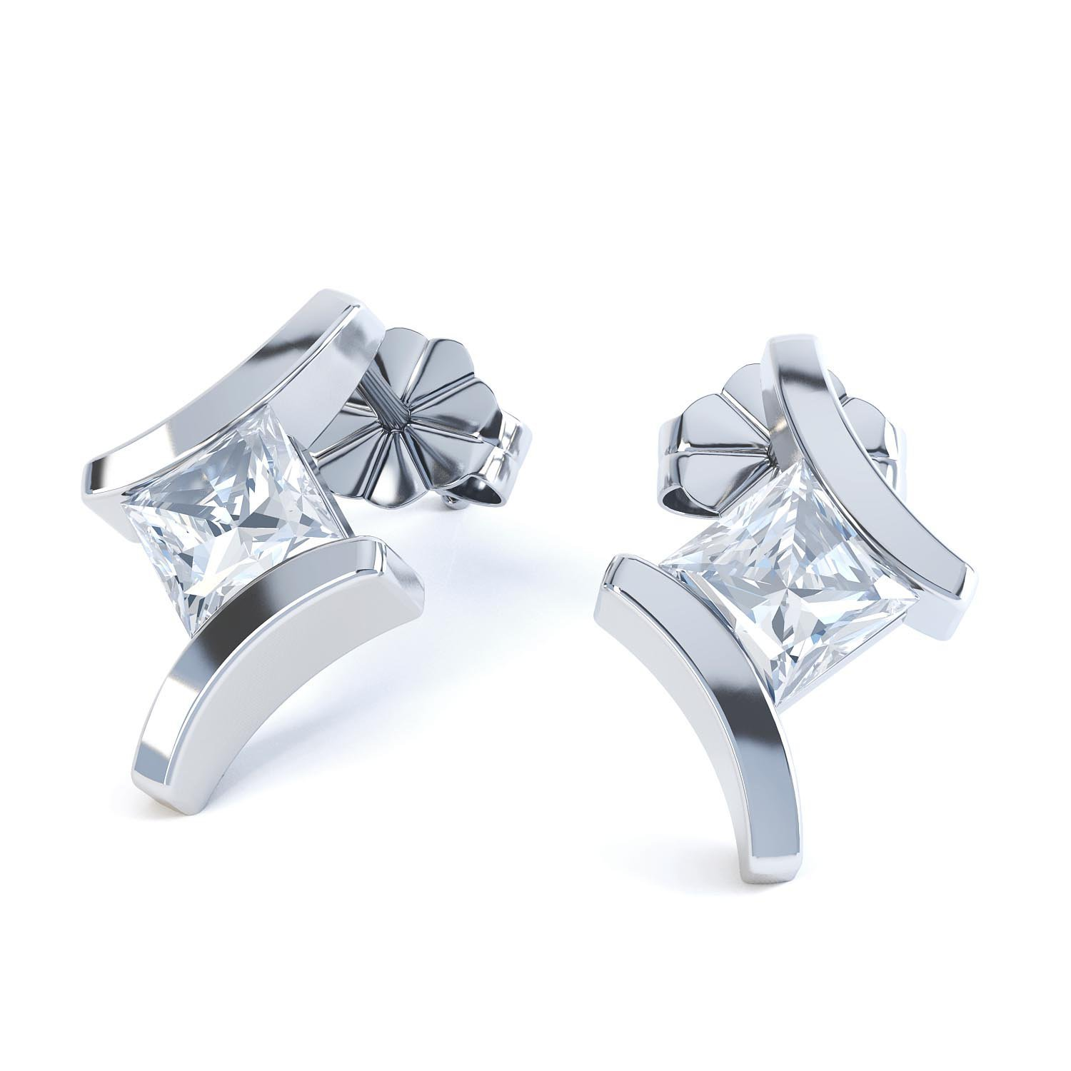 Combinations White Topaz Square Rhodium plated Silver Earrings