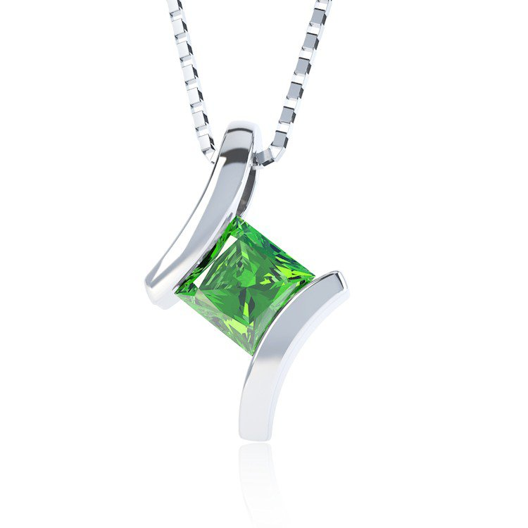 Combinations Chrome Diopside Square Silver Pendant