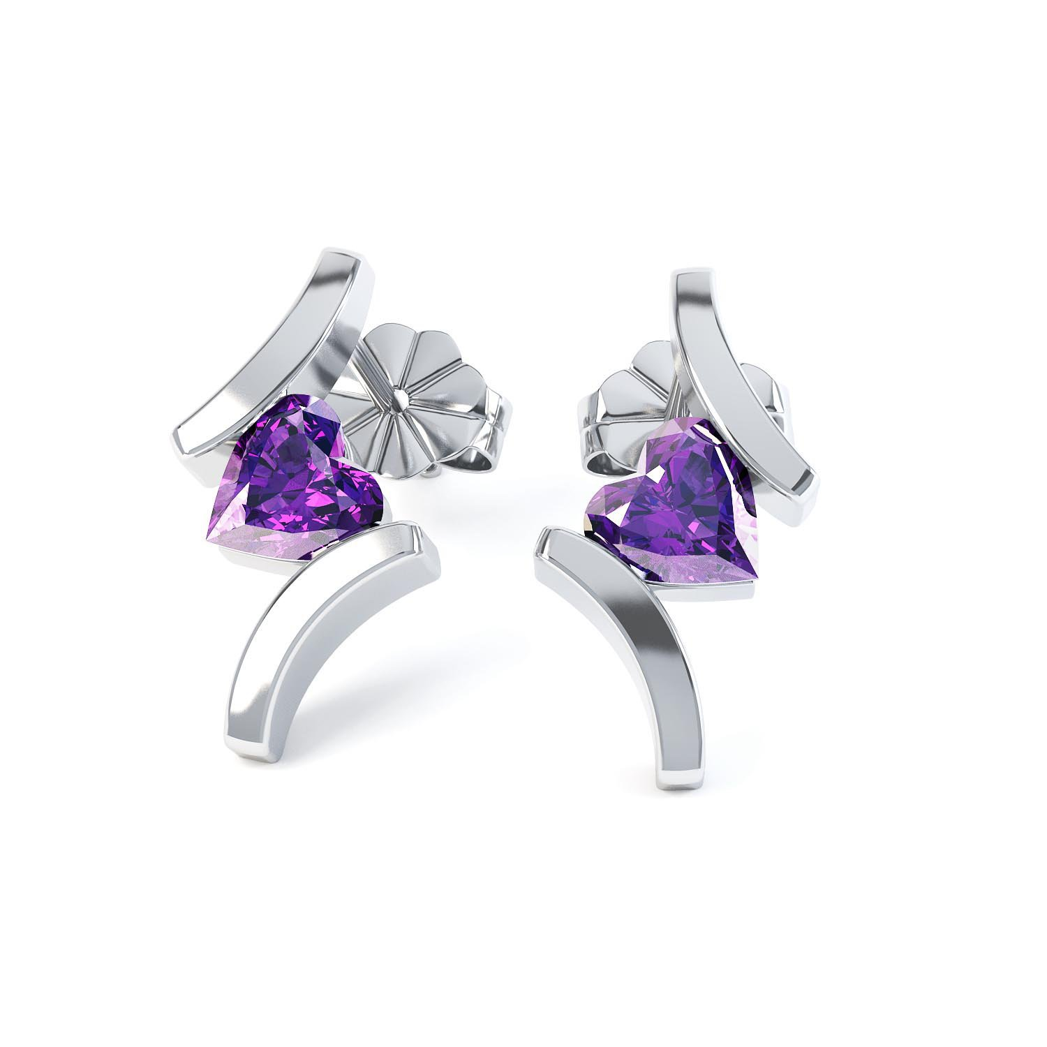 Combinations Amethyst Heart 18ct White Gold Earrings