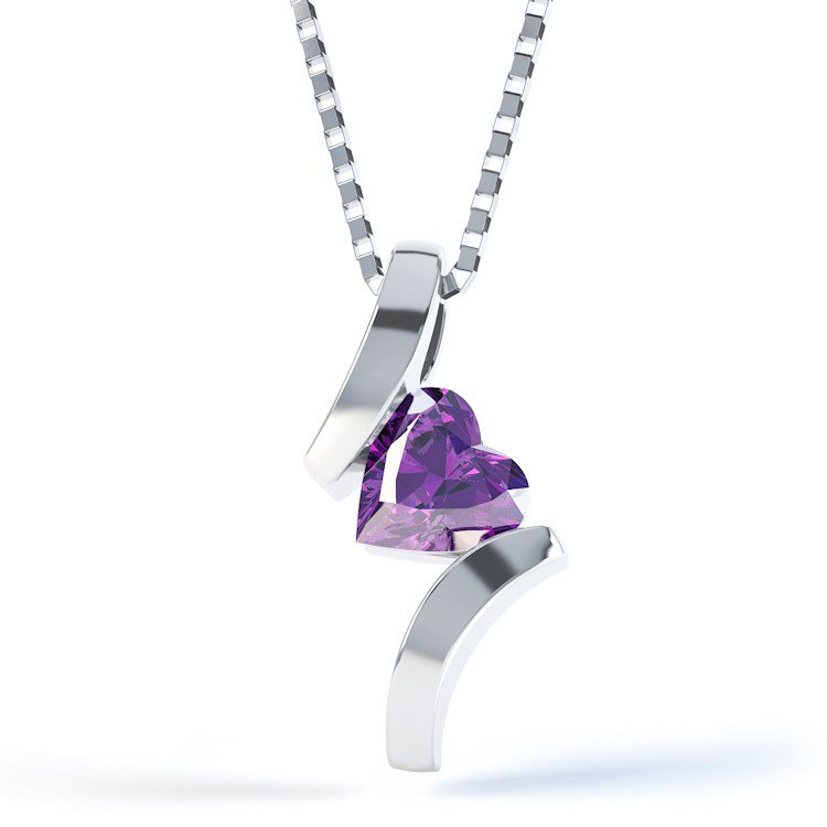 Combinations Amethyst Heart Silver Pendant