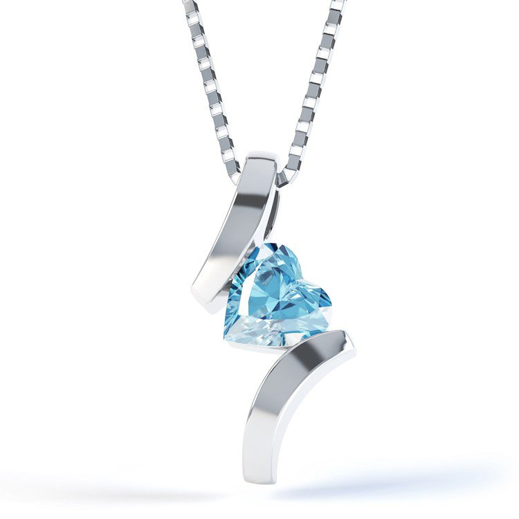 Combinations Blue Topaz Heart Silver Pendant