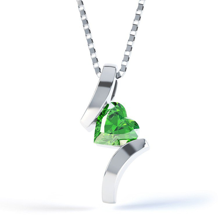 Combinations Chrome Diopside Heart Silver Pendant