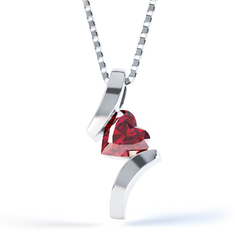 Combinations Garnet Heart Silver Pendant