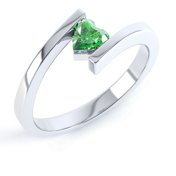 Combinations Chrome Diopside Heart Stacking Silver Ring