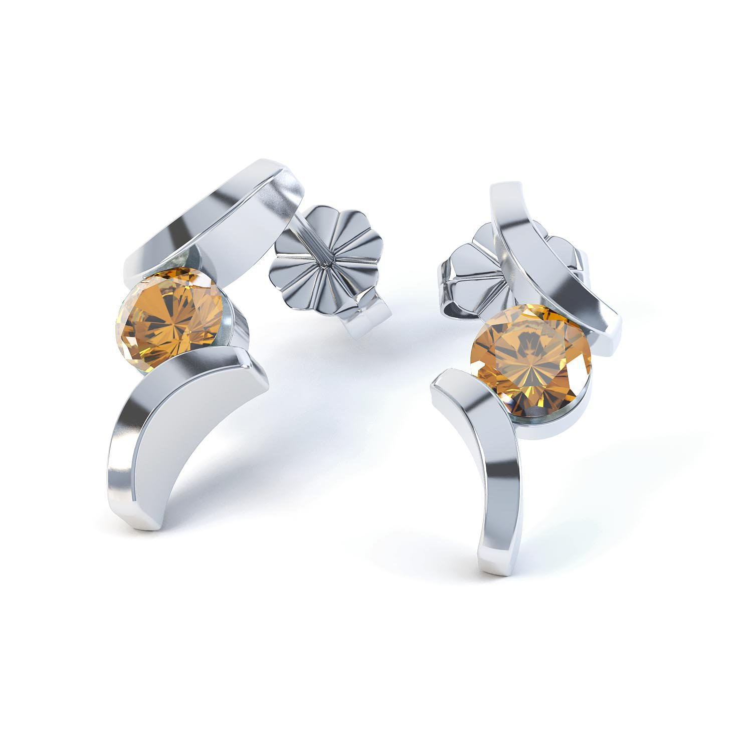Combinations Citrine Round Rhodium plated Silver Earrings