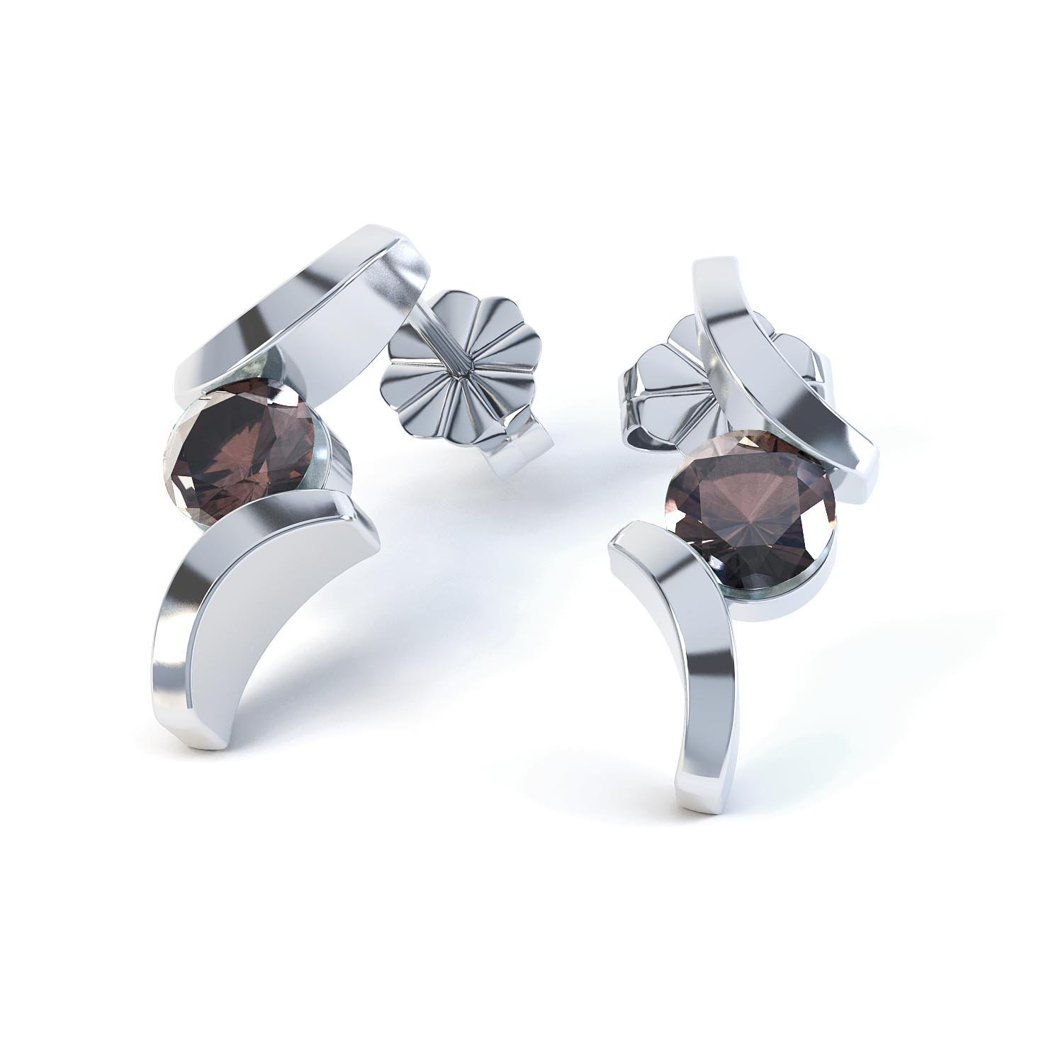 Combinations Smokey Quartz Round 18ct White Gold Earrings