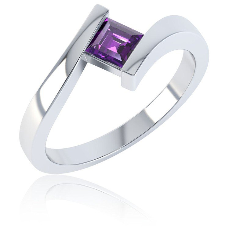 Combinations Amethyst Square Stacking Silver Ring