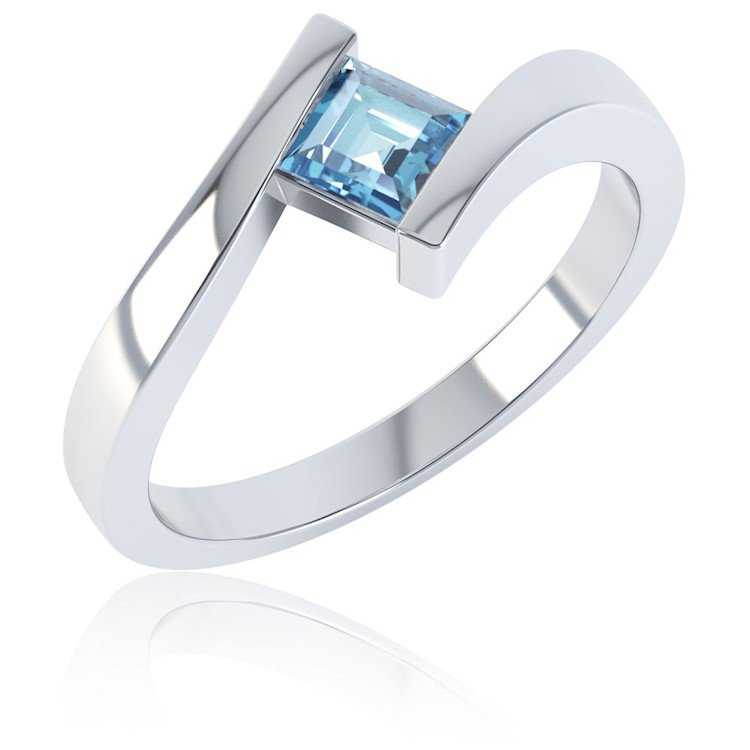 Combinations Blue Topaz Square Stacking Silver Ring