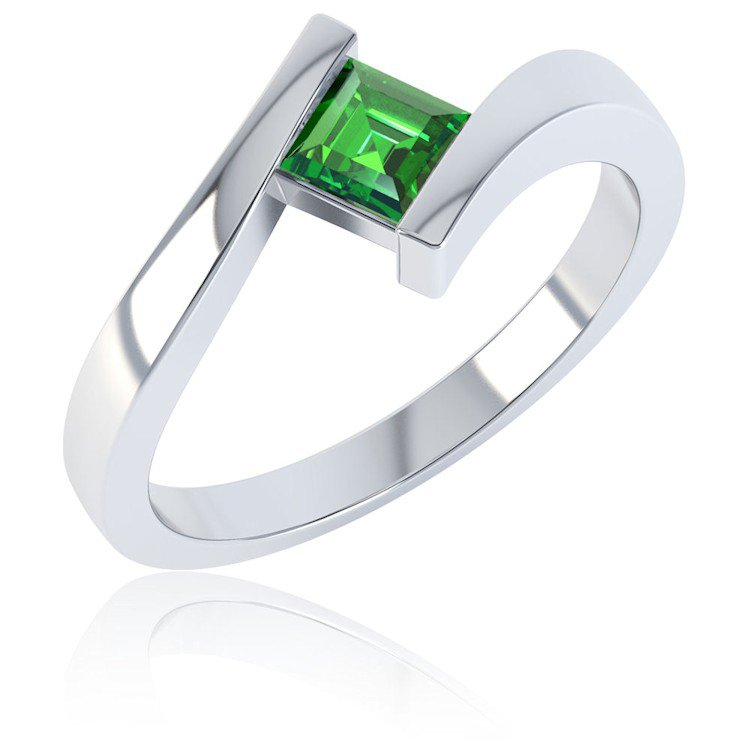 Combinations Chrome Diopside Square Stacking Silver Ring