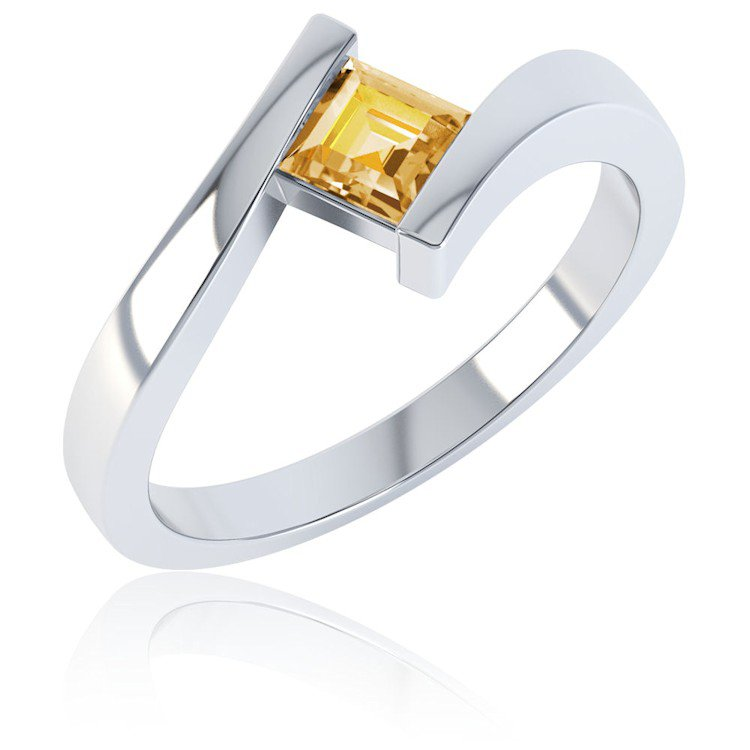 Combinations Citrine Square Stacking Silver Ring