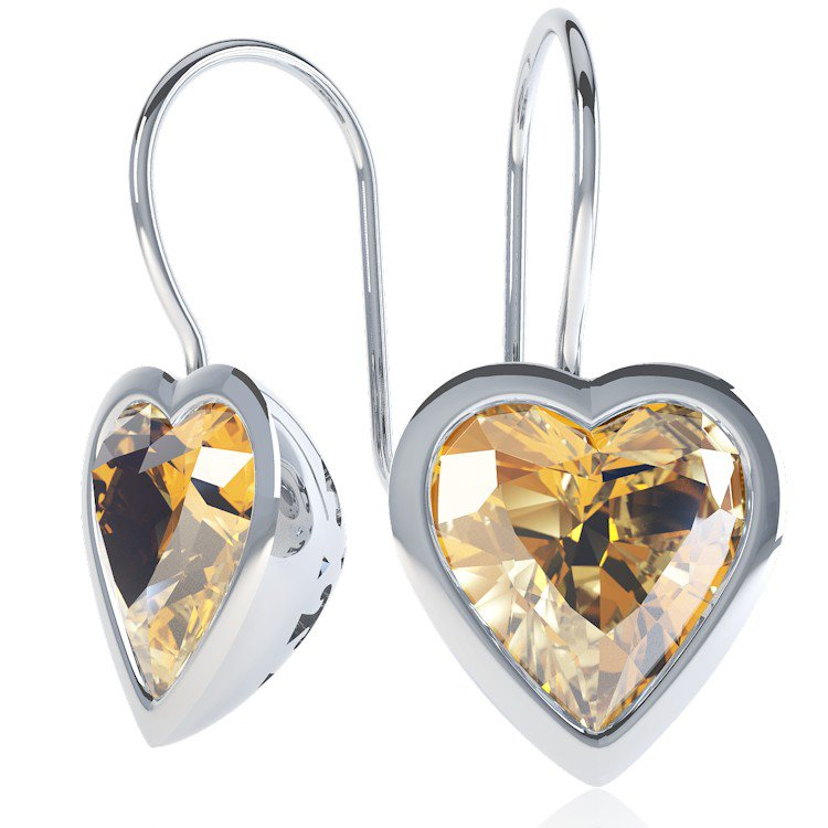 Expressions Citrine Heart Rhodium plated Silver Earrings