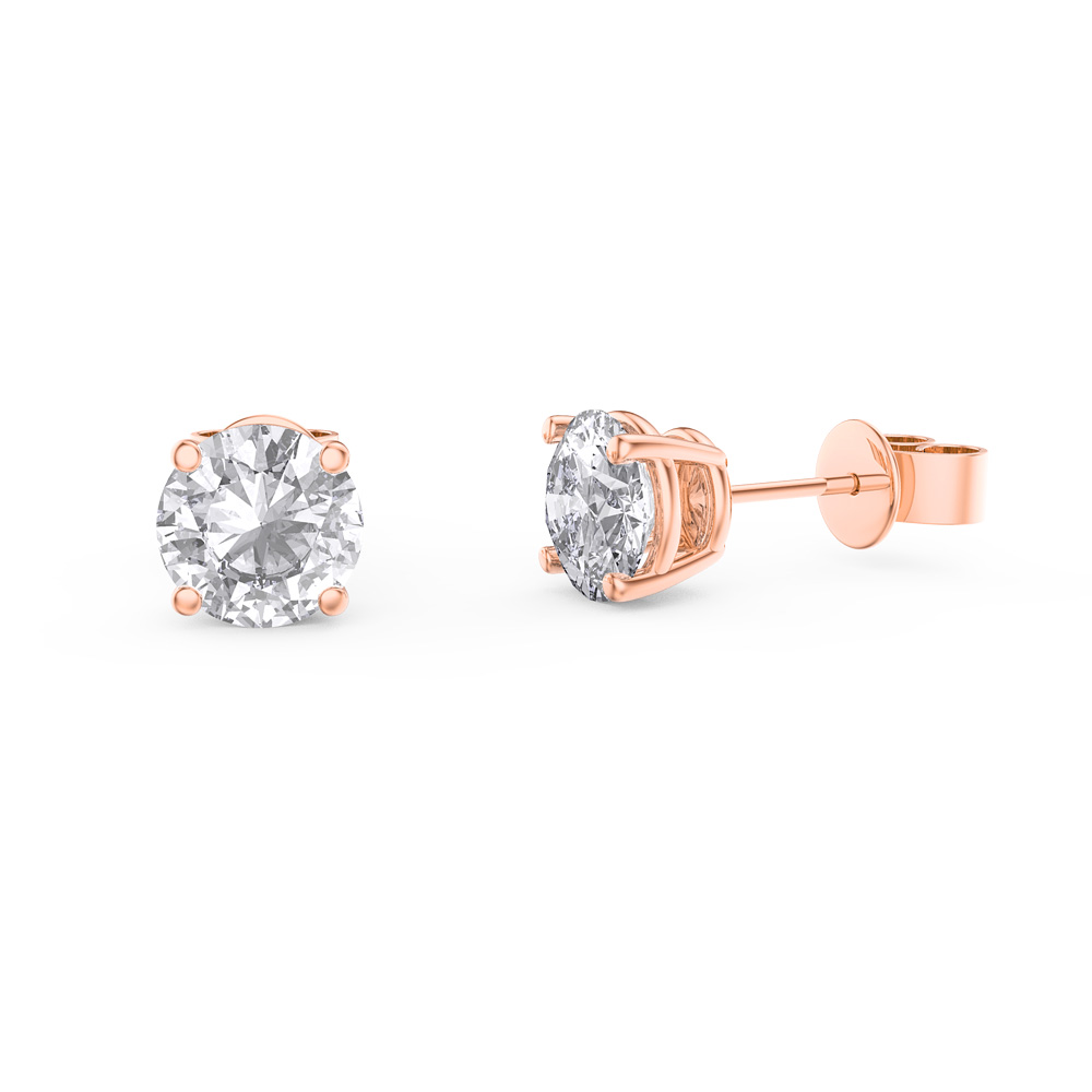 Charmisma 1ct White Sapphire 18ct Rose Gold Vermeil Stud Earrings