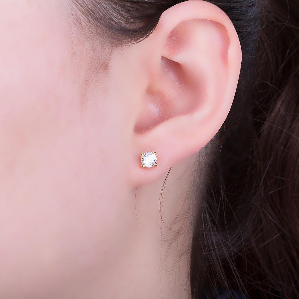 0c67f7191a736 Charmisma 1ct White Sapphire 18ct Gold Vermeil Stud Earrings