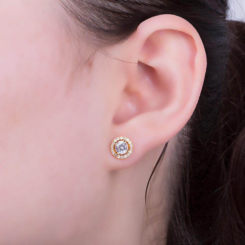 fea4333e0 Fusion White Sapphire 18ct Rose Gold Vermeil Stud Earrings Halo Jacket Set.  Tap to expand