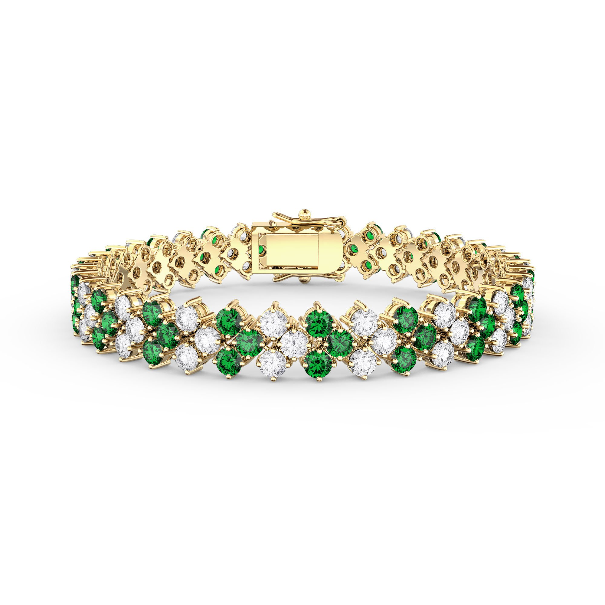 Eternity Three Row Emerald And Diamond Cz 18ct Gold Plated