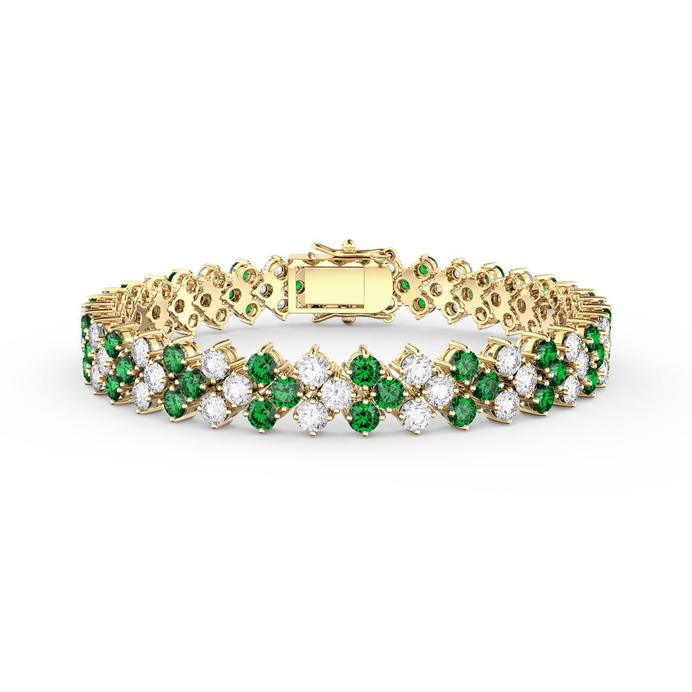 Eternity Three Row Emerald CA and White Sapphire 18ct Gold Vermeil Tennis Bracelet