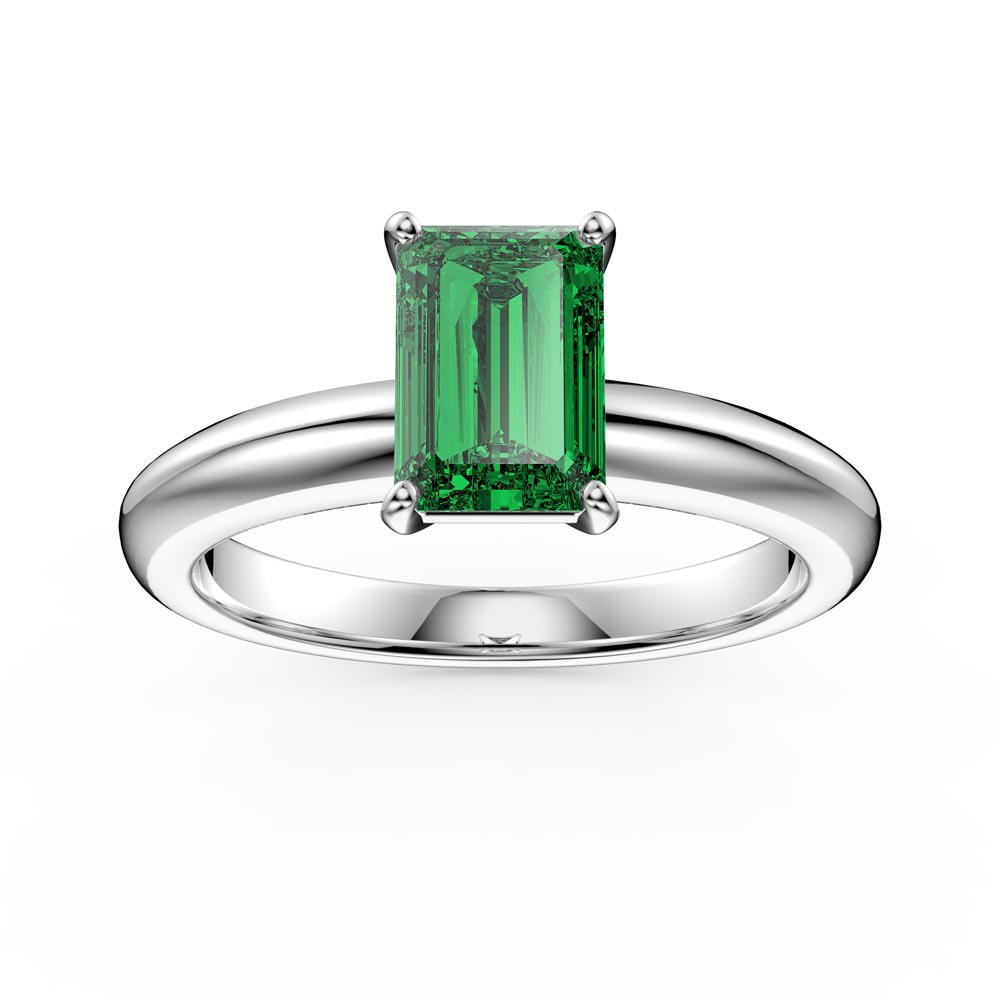 Unity 1ct Emerald Cut Emerald Solitaire Platinum plated Silver Promise Ring