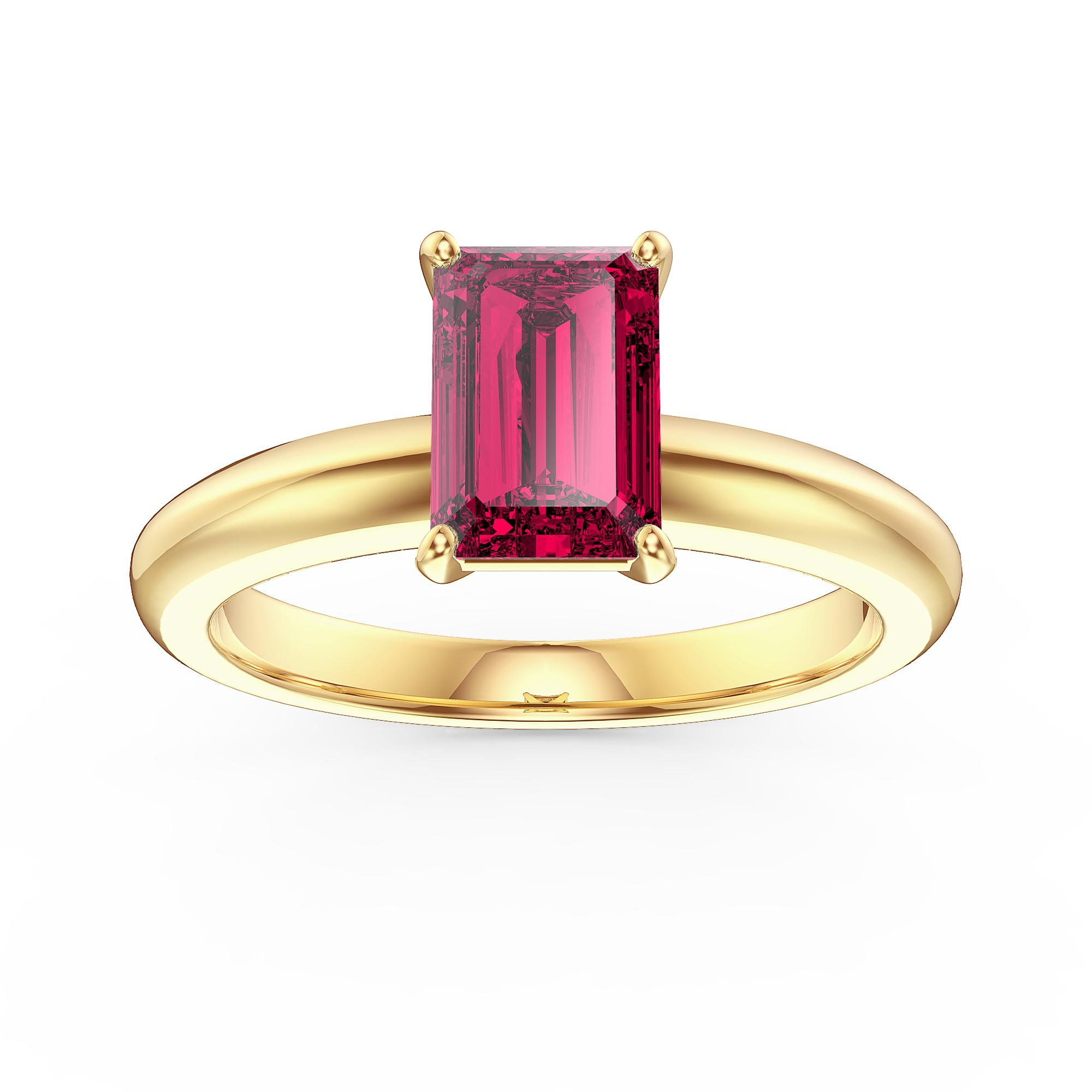 Unity 1ct Emerald cut Ruby Solitaire 18ct Yellow Gold