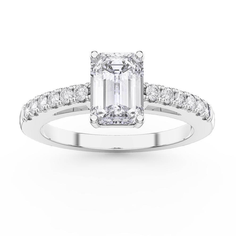 2c4a5f284352e Unity 1ct White Sapphire Emerald Cut Diamond Pave 18ct White Gold  Engagement Ring