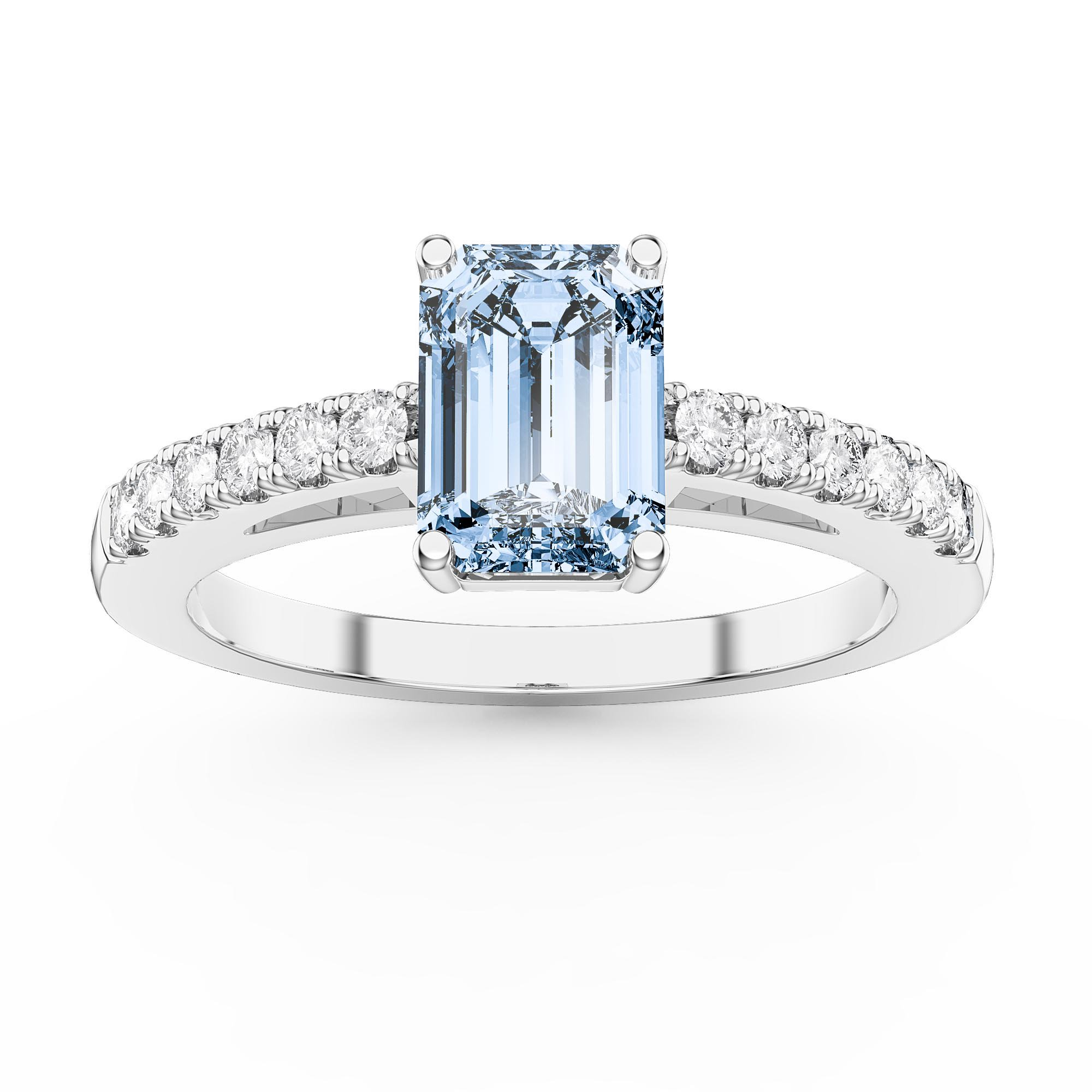 4a24218d763afe Unity 1ct Aquamarine Emerald Cut Diamond Pave 18ct White Gold Engagement  Ring. Tap to expand