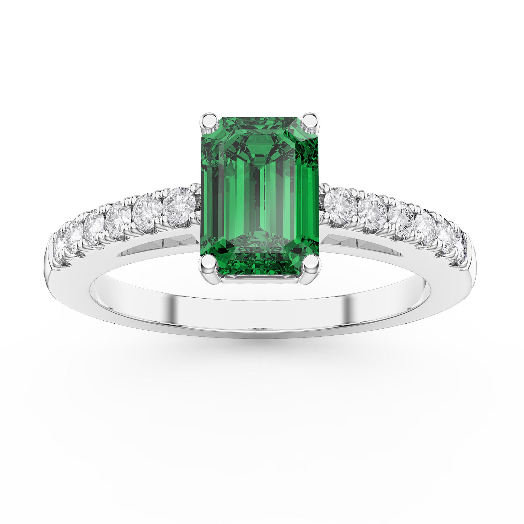 8ab7cd0ab809d6 ... Cut Emerald Diamond Pave 18ct White Gold Engagement Ring. Tap to expand