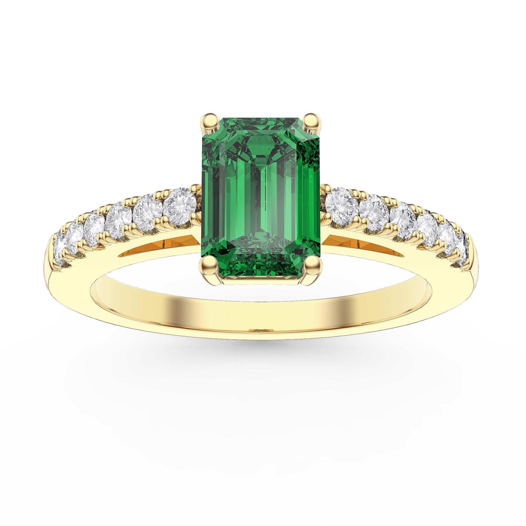 39a421723289c Unity 1ct Emerald Cut Emerald Diamond Pave 18ct Yellow Gold Engagement Ring