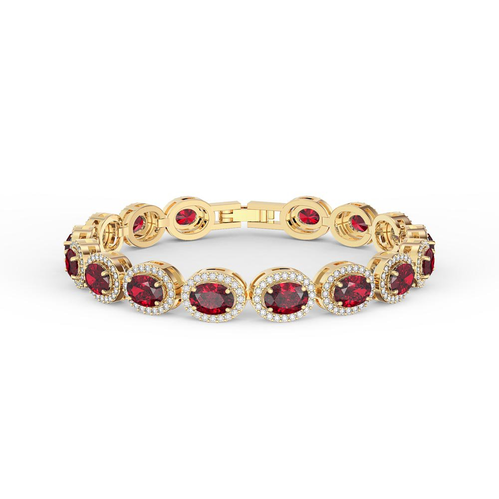 cb6440c4d8f6 Eternity Ruby Oval Halo 18ct Gold Vermeil Tennis Bracelet. Tap to expand