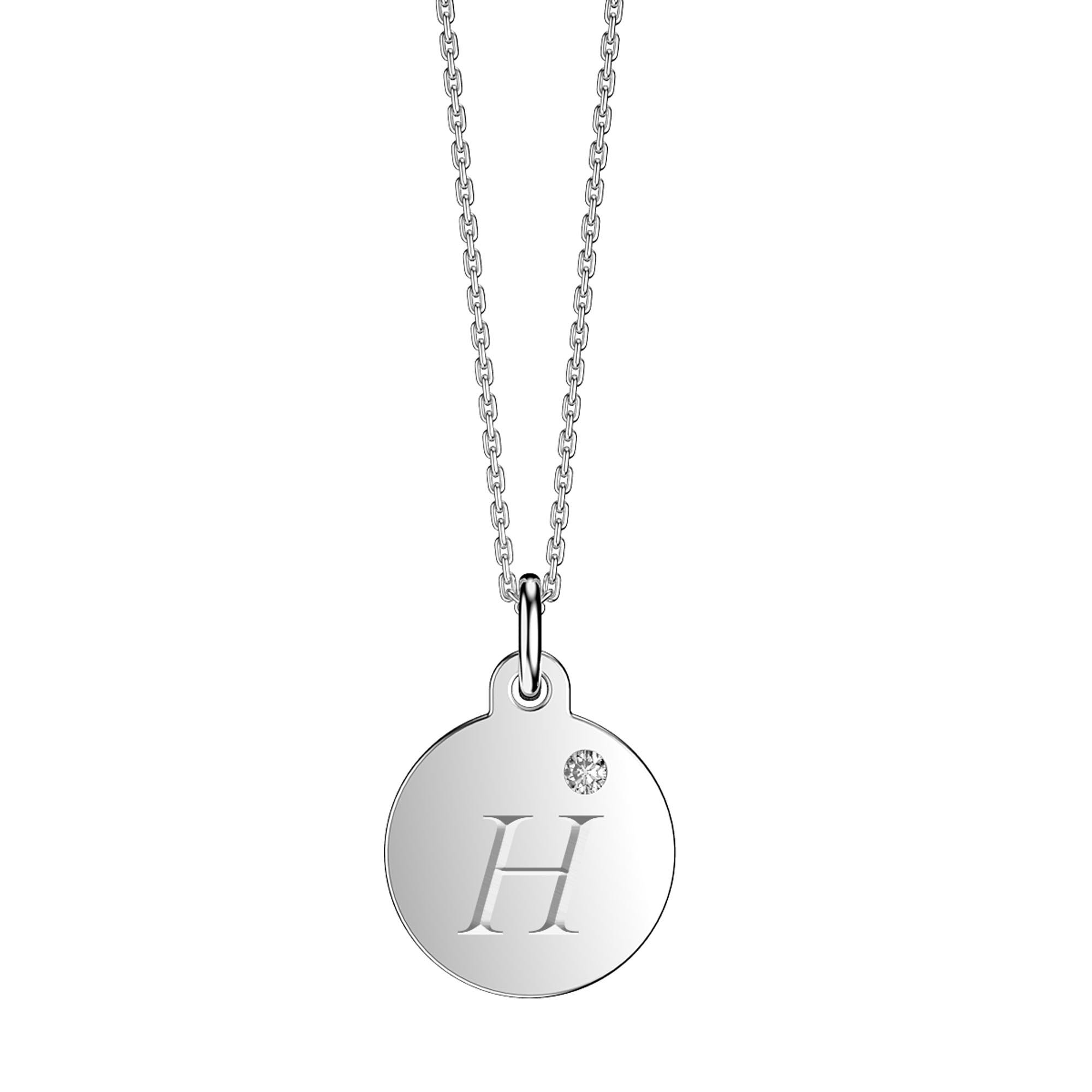 1537af87d Charmisma Moissanite Platinum plated Silver Round Alphabet Tag Small Pendant  H. Tap to expand