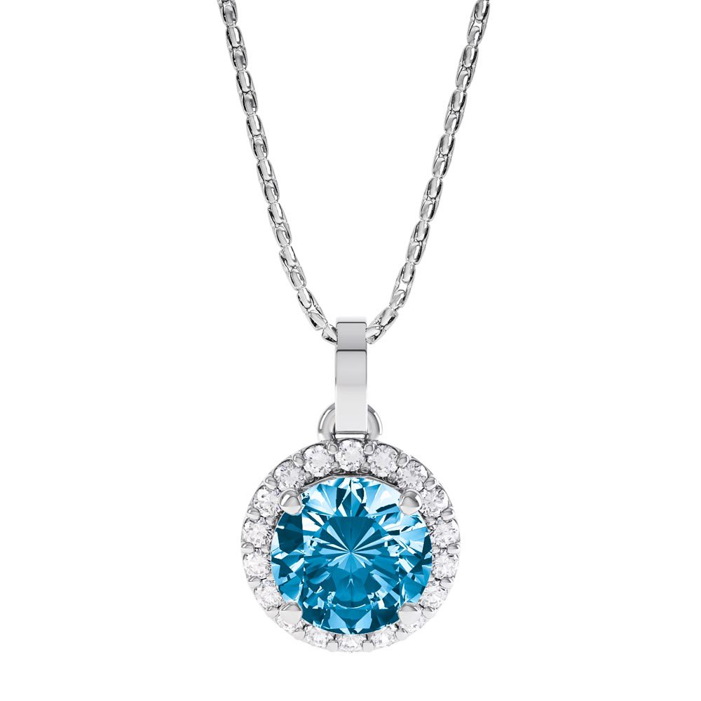Halo 0.5ct Swiss Blue Topaz  and Moissanite 18ct White Gold Halo Pendant