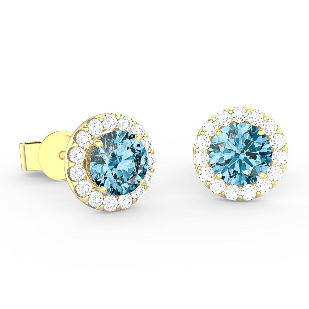 Halo 1ct Swiss Blue Topaz and Diamonds 18ct Yellow Gold Halo Stud Earrings