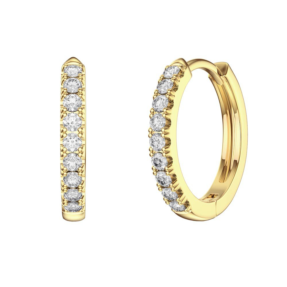 Charmisma White Sapphire 18ct Gold Vermeil Hoop Earrings Small