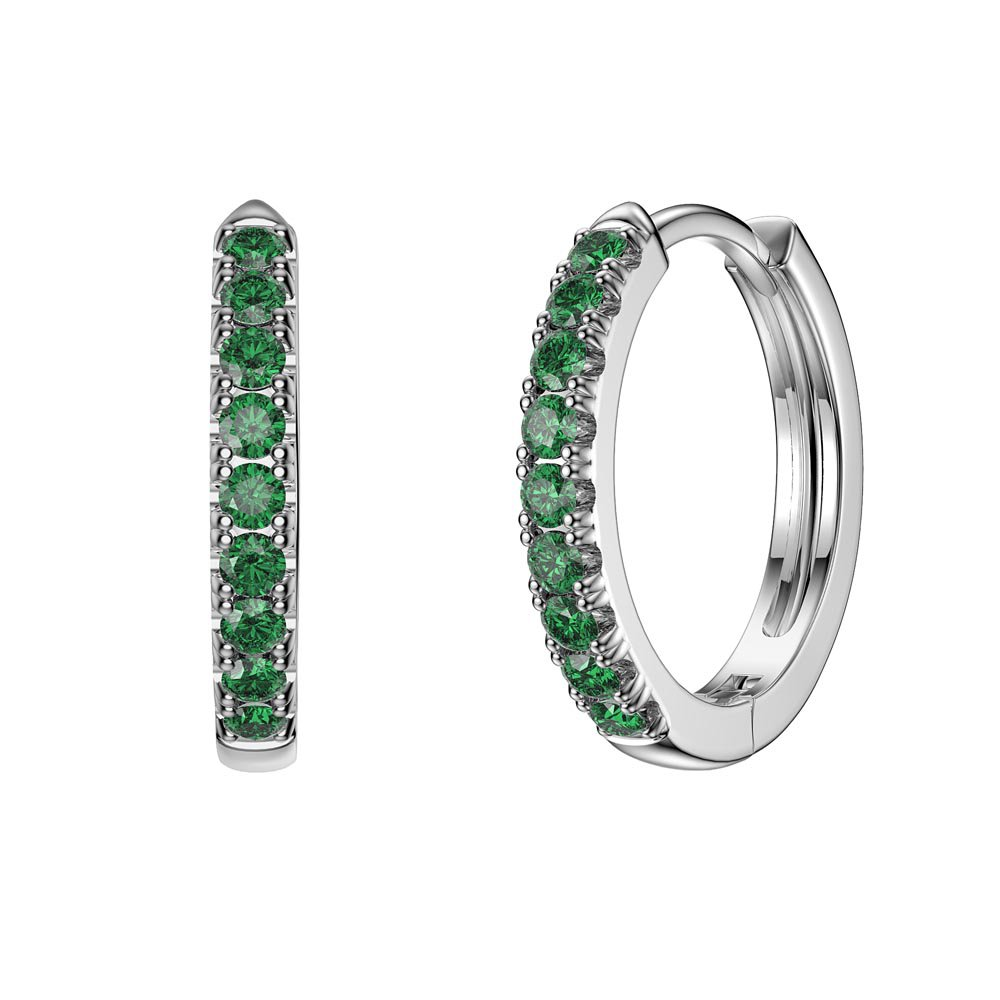 Charmisma Emerald Platinum plated Silver Hoop Earrings