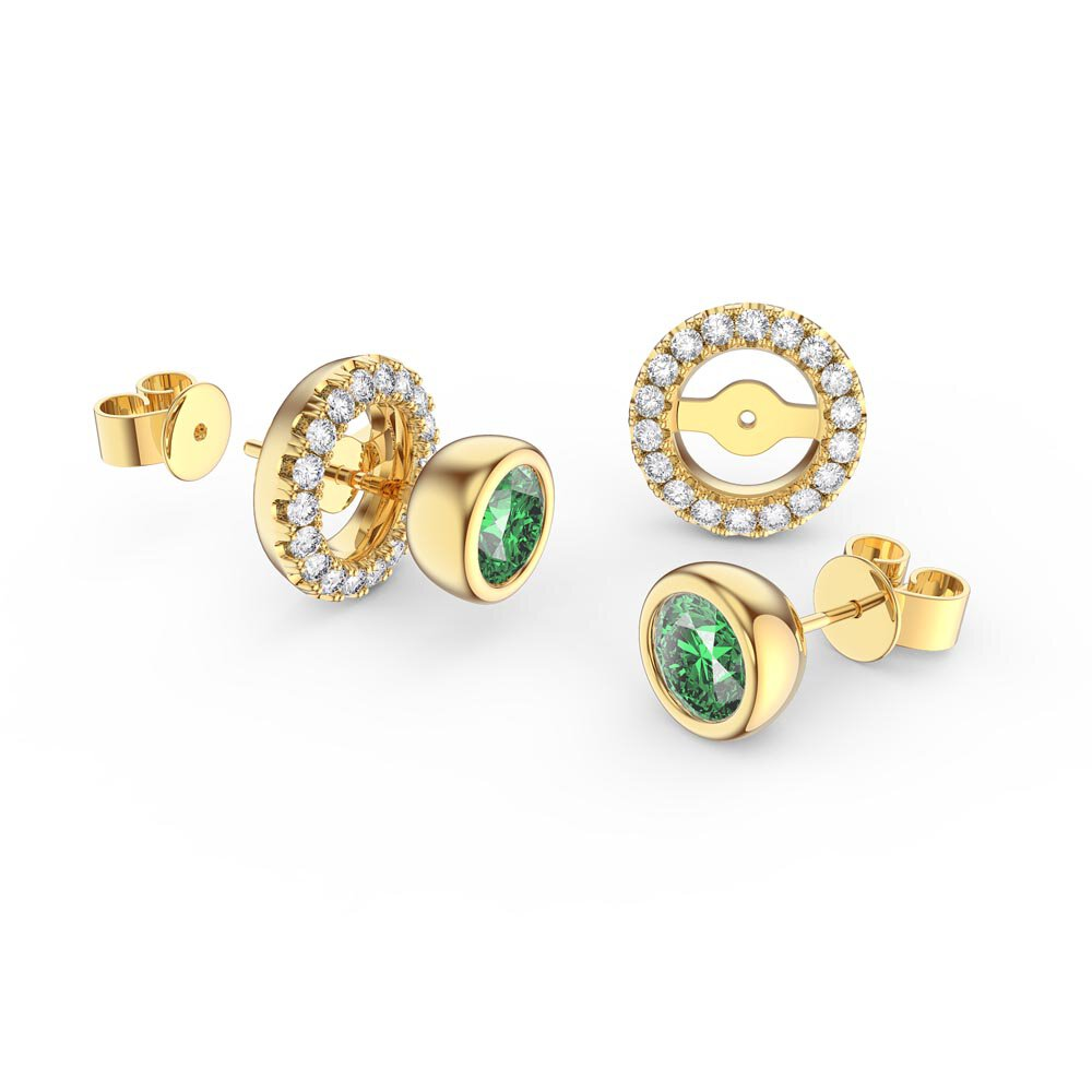 Infinity Peridot and White Sapphire 9ct Yellow Gold Stud Earrings Halo Jacket Set