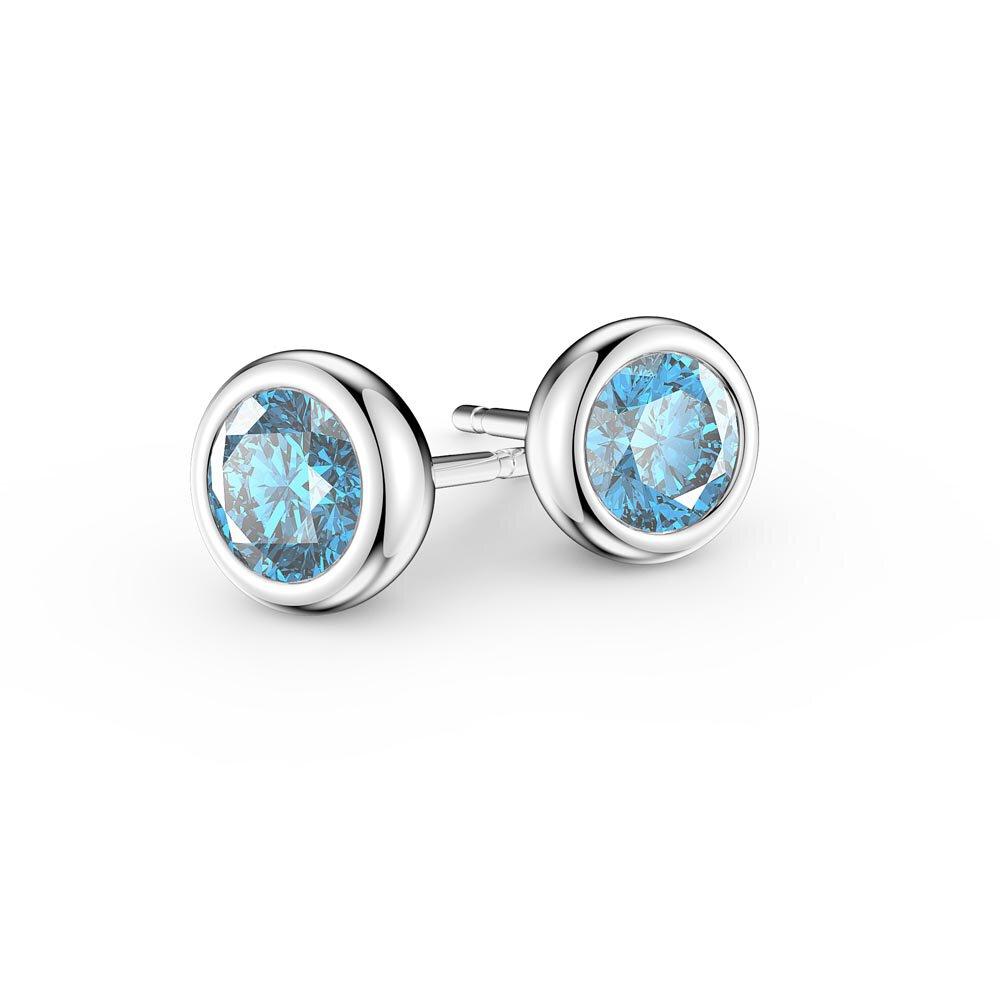 Infinity Platinum: Infinity Aquamarine Platinum Plated Silver Stud Earrings