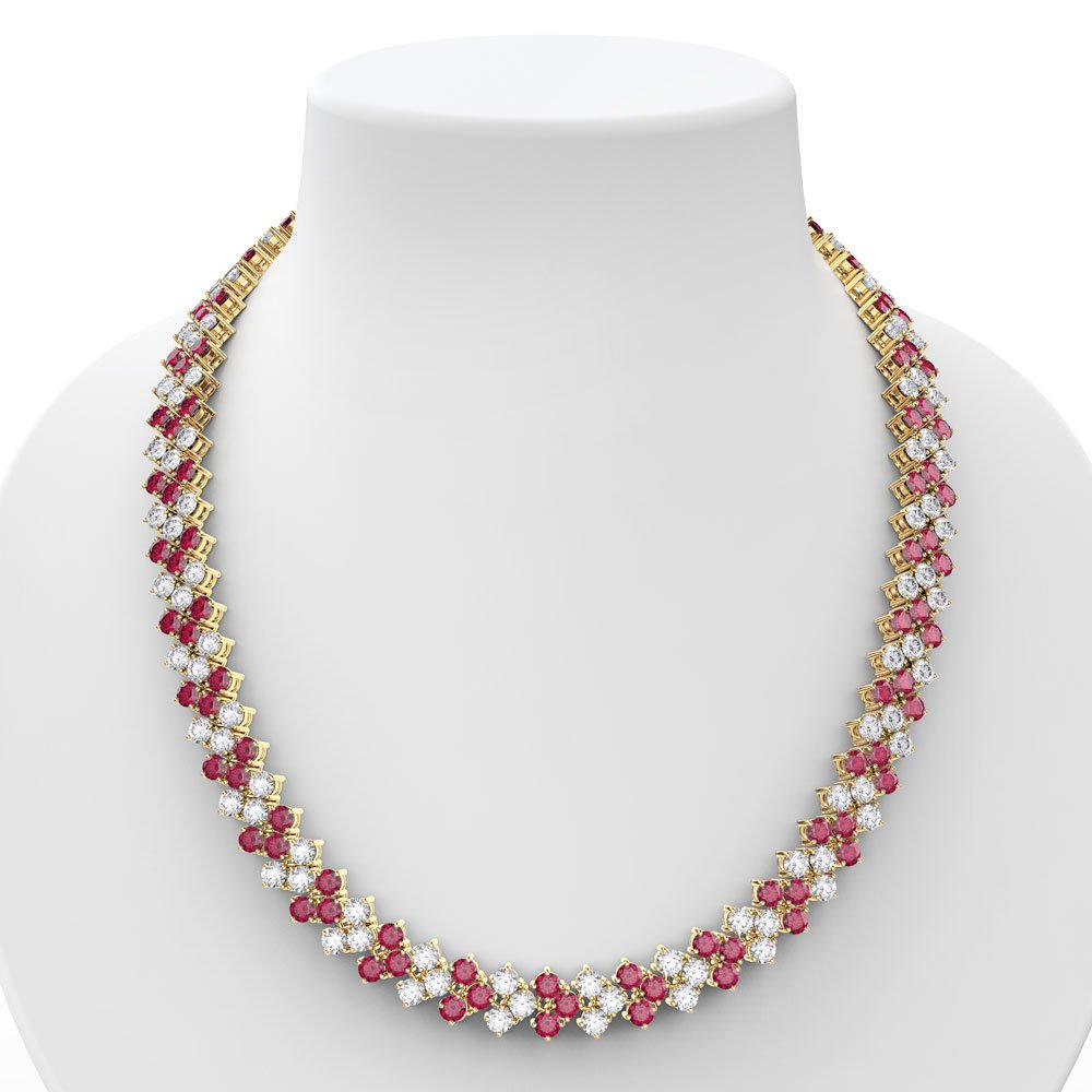 Eternity Three Row Ruby 18ct Gold Vermeil Adjustable Choker Tennis Necklace