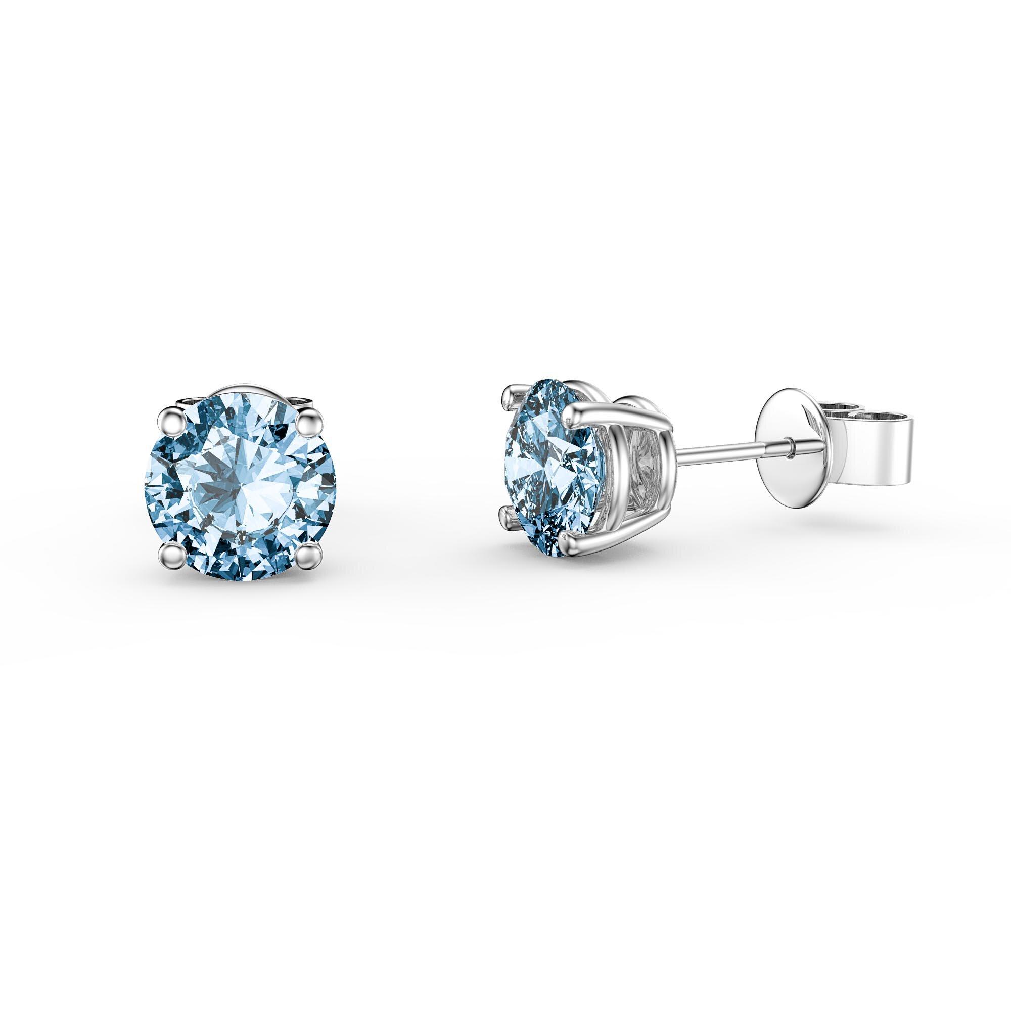8075064858245 Charmisma 1ct Swiss Blue Topaz 9ct White Gold Stud Earrings