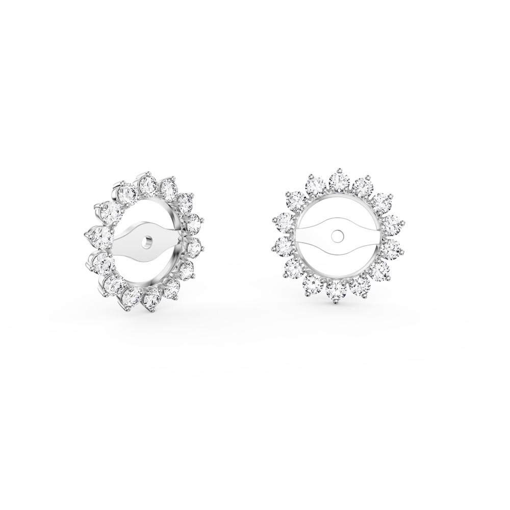 Fusion White Sapphire Platinum plated Silver Earring Starburst Halo Jackets